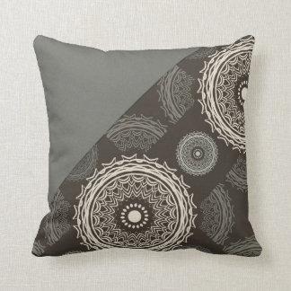 Silver Gray Taupe Circles Abstract Cushion