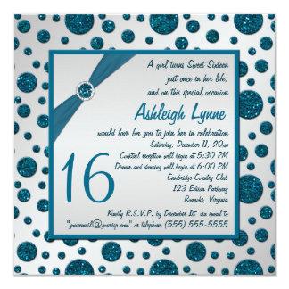 Silver Gray, Teal FAUX Glitter Polka Dot Sweet 16 13 Cm X 13 Cm Square Invitation Card