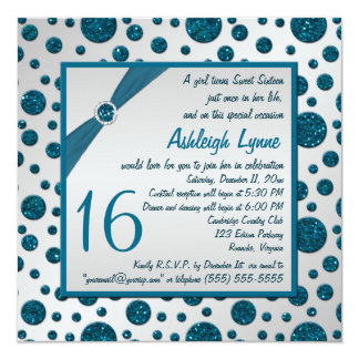 Silver Gray, Teal FAUX Glitter Polka Dot Sweet 16 Card