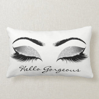 Silver Gray White Makeup Lashes Hello Gorgeous Lumbar Cushion