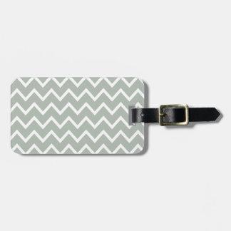 Silver Gray Zig Zag Chevron Luggage Tag
