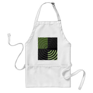 Silver Green and Black Circular Maze Pattern Standard Apron