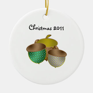 Silver green and gold acorn ornament