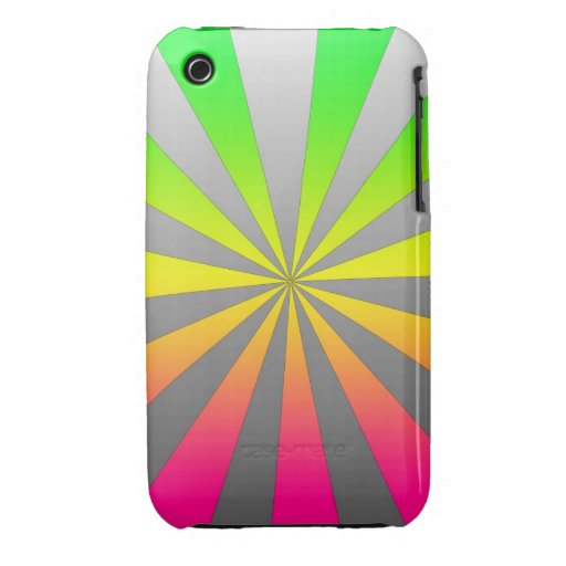 Silver Green Pink burst iPhone 3 Cover