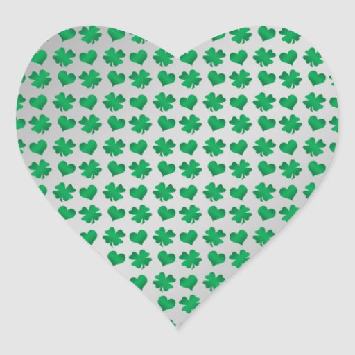 Silver green shamrocks and hearts stickers
