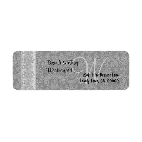 Silver Grey and Black Damask Monogram Wedding V019 Return Address Label