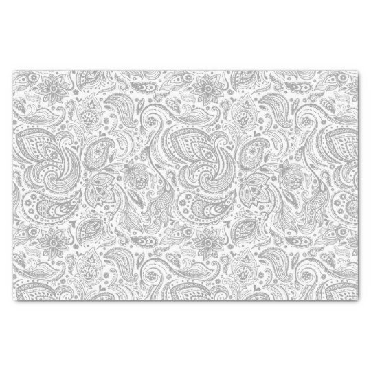 Silver Grey And White Floral Paisley Pattern Tissue