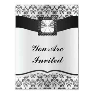 Silver grey & black damask 17 cm x 22 cm invitation card
