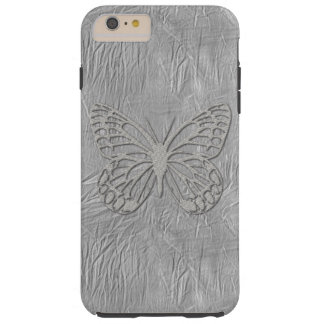 Silver Grey Butterfly Silk Textured Tough iPhone 6 Plus Case