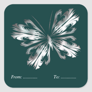 Silver grey butterfly square sticker
