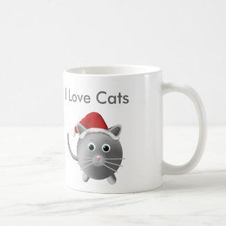 Silver Grey Cat Christmas Mugs