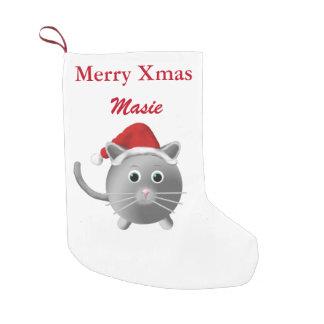 Silver Grey Cat Christmas Stocking