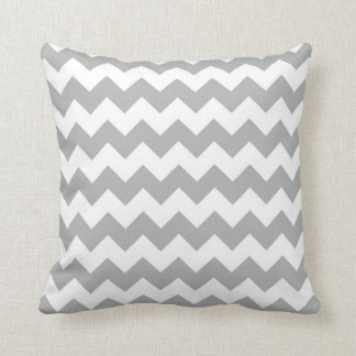 Silver Grey Chevron Zigzag Throw Pillow