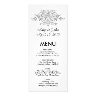 Silver grey damask custom wedding menu damask1