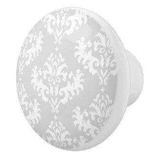 Silver Grey Damask pattern Ceramic Knob