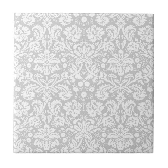 Silver grey damask pattern small square tile