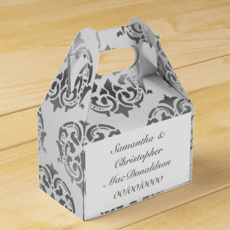 Silver grey damask pattern wedding favour box