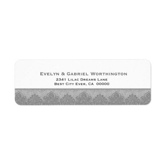 Silver Grey Damask Trim Wedding Ver D004