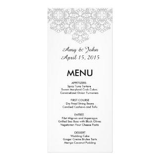 Silver grey damask wedding menu dmask3