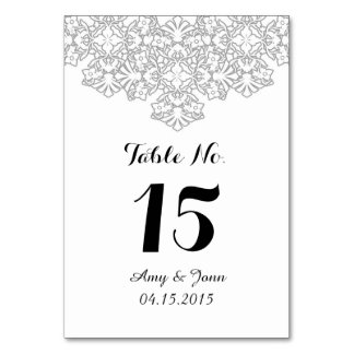 Silver grey damask wedding table numbers dmask3 table card