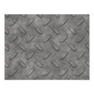 "Silver Grey Diamond Plate Textured 4.25"" X 5.5"" Invitation Card"