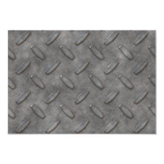 "Silver Grey Diamond Plate Textured 3.5"" X 5"" Invitation Card"