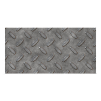 Silver Grey Diamond Plate Textured Picture Card