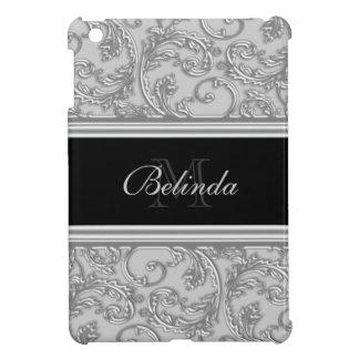 Silver grey girly swirl iPad mini cases