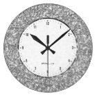 Silver Grey Glitter Texture Print Large Clock