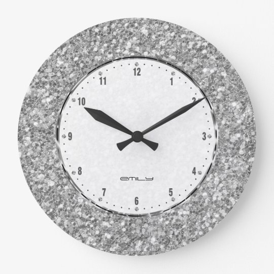 Silver Grey Glitter Texture Print Large Clock Zazzle Co Uk