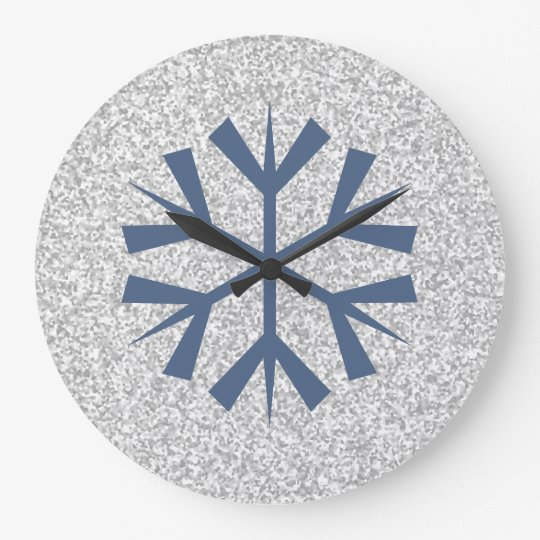Silver Grey Glitter With Blue Snowflake Large Clock