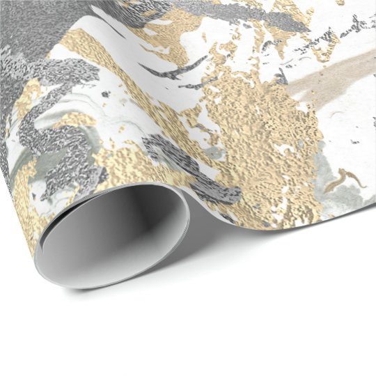 Silver Grey Gold Marble Shiny Metallic White Ivory