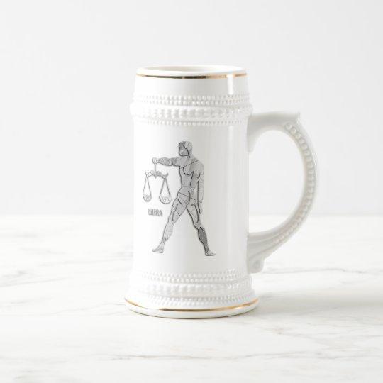 Silver / Grey Libra Zodiac Custom Stein