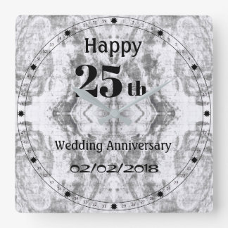 Silver Grey Marble 25th Wedding Anniversary Square Wall Clock