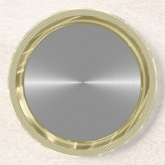 Silver Grey Metallic Design Stainless Steel Look Coaster