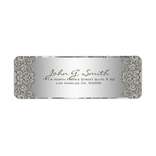 Silver Grey Metallic Pattern Floral Swirls Return Address Label