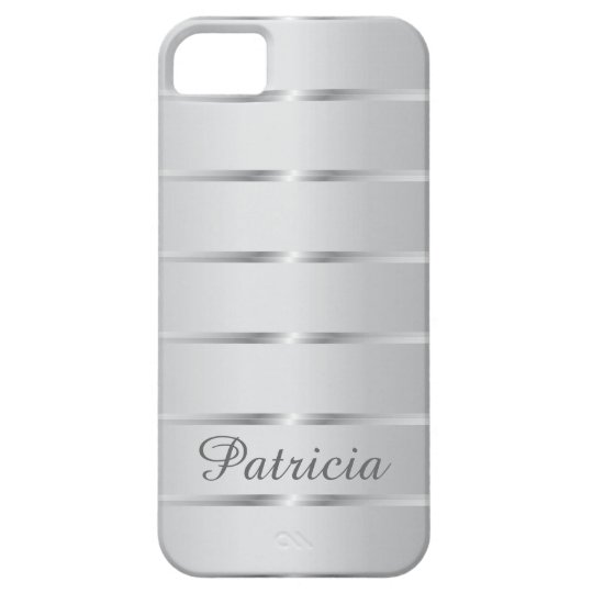 b92b2de0d31 Silver Grey Metallic Stripes Name iPhone 5 Case