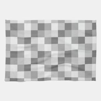 Silver Grey Monochrome Checkered Pattern Tea Towel