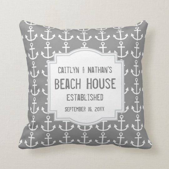 Silver Grey Nautical Theme with Anchors A03B Cushion