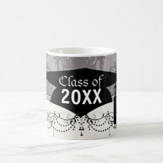 silver grey ornate damask pattern graduation basic white mug