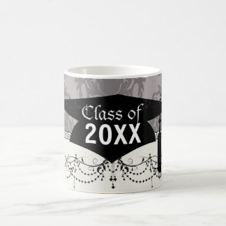 silver grey ornate damask pattern graduation coffee mug