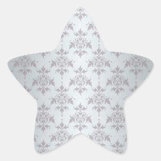 Silver Grey Pale Damask Pattern Star Sticker