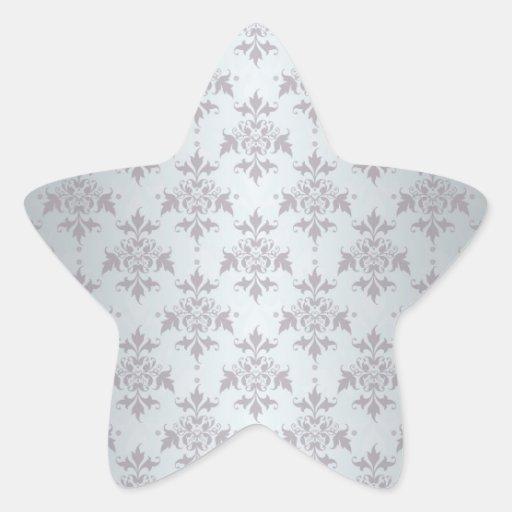 Silver Grey Pale Damask Pattern Sticker