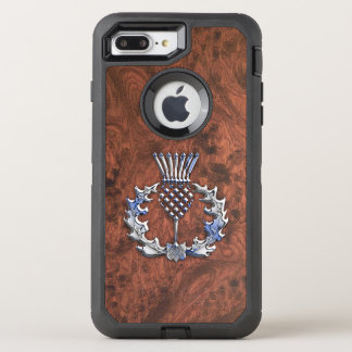 Silver Grey Scottish Thistle Decor on a OtterBox Defender iPhone 8 Plus/7 Plus Case