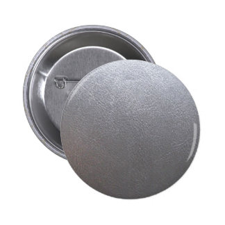 SILVER Grey Sparkle : Leather Look Finish 6 Cm Round Badge