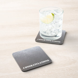 SILVER Grey Sparkle : Leather Look Finish Coaster