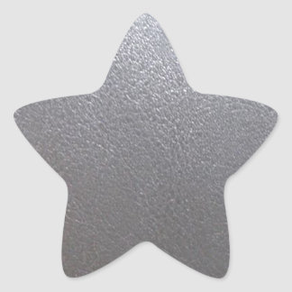 SILVER Grey Sparkle : Leather Look Finish Star Sticker