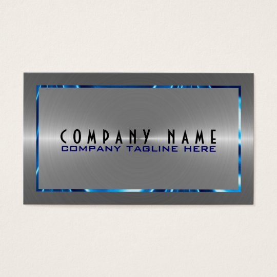 Silver Grey Stainless Steel Look Blue Accents Business