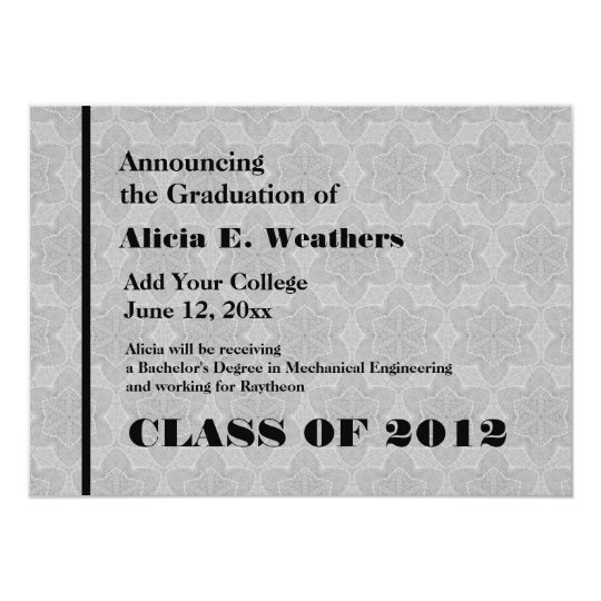 Silver Grey Star Texture New Grad Announcement