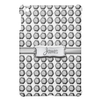 Silver Grey Stud Patterned Personalized iPad Case